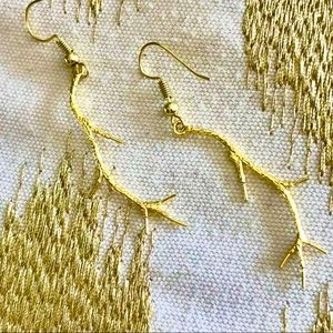 Gold Twig Earrings
